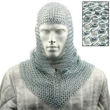 Chain Mail Coif Armor Knight Soldier Head Neck Protection Steel Protective Gear