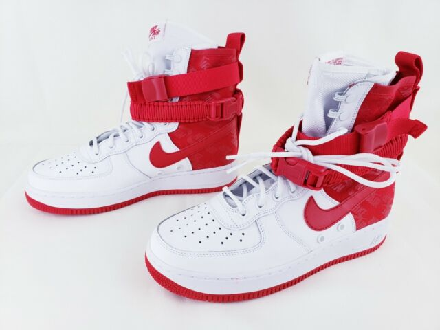 Nike Air Force 1 Special Field SF AF1 Hi Top Sneakers White Red AR1955 100