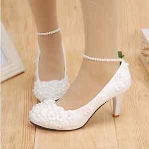 White Wedding Heels Lace