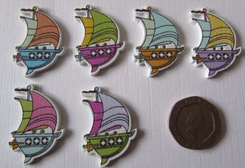 10 Novelty Sail Boat Wooden Buttons Kids Craft Knitting Sewing Toppers Cards