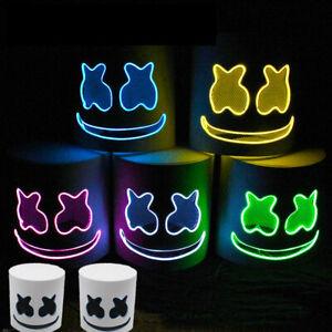 Halloween Marshmallow Helmet LED Full Headgear Hat Rainbow DJ Cosplay Costume