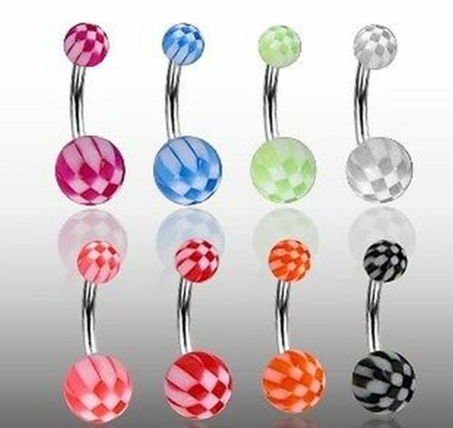 8 set ombligo UV Checker piercing nq-1410-x