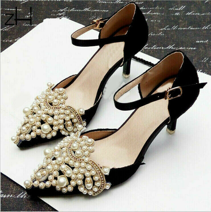1Pair Pearl Flower Shoe Clip Rhinestones Removable Pointed Shoes Decoration TXL