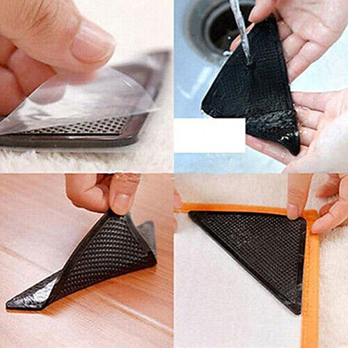 4 Set Reusable Rug Carpet Mat Grippers Anti Slip Silicone Grip Skid Tape Stable