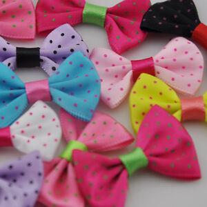 20pcs-Mix-Dots-Satin-Ribbon-Bows-Flowers-DIY-Crafts-Wedding-Appliques-E89
