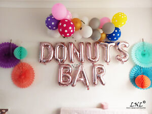 Rose Gold Balloons, Wedding day, DONUTS BAR balloons engaged banner bride party