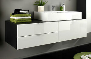 waschbecken unterschrank bad schrank wei hochglanz grau waschtisch m bel beach ebay. Black Bedroom Furniture Sets. Home Design Ideas