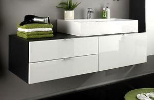 Waschbecken mit unterschrank weiß  Waschbecken Unterschrank Bad Schrank weiß Hochglanz grau ...