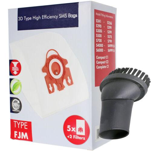 FJM 3D Hyclean Bags 5 Brush for MIELE S500 S510 S511 S512 S571 S578 S599 Vacuum