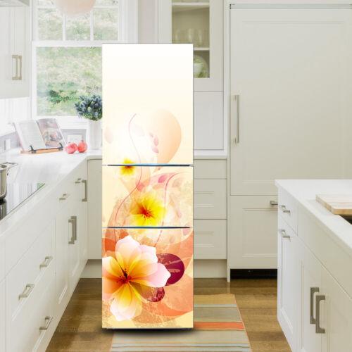 3D Creative Flamingo Floral Fridge Door Sticker Self Adhesive Refrigerator Mural