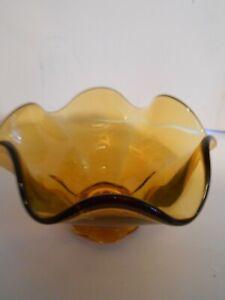 Amber-Glass-Bowl-Dish-Hand-Blown-Ruffle