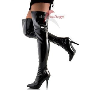 Tacco alto stivali sopra il ginocchio Stretch VERNICE NERO 11 13 CM, paragrafo MIS. 36 47 | eBay