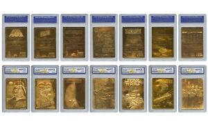 STAR-WARS-1996-Original-Genuine-23KT-Gold-Cards-Graded-Gem-Mint-10-SET-OF-7