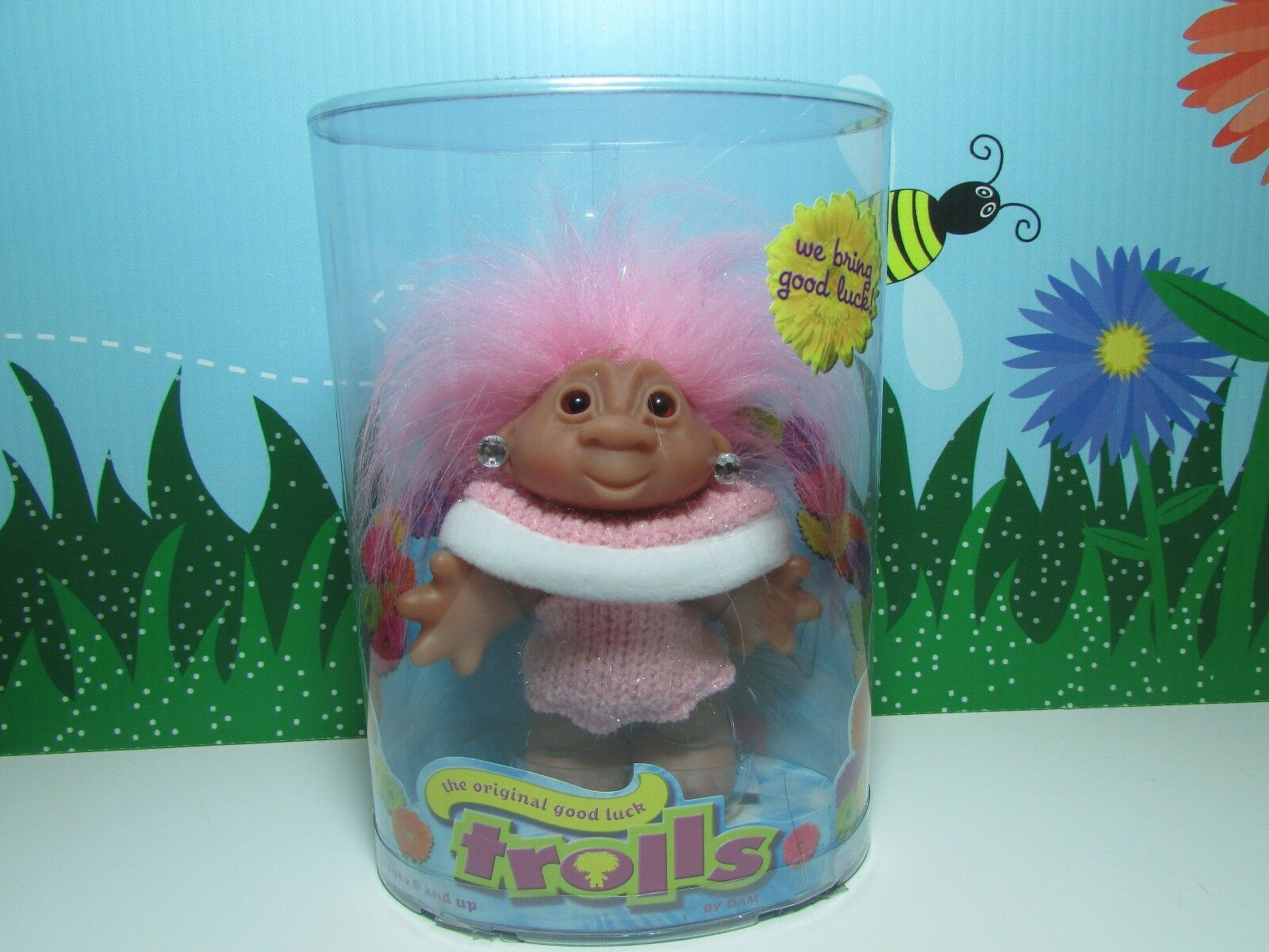 SWEATER GIRL WITH EARRINGS  () - 5  DAM Troll Doll - NEW IN CONTAINER