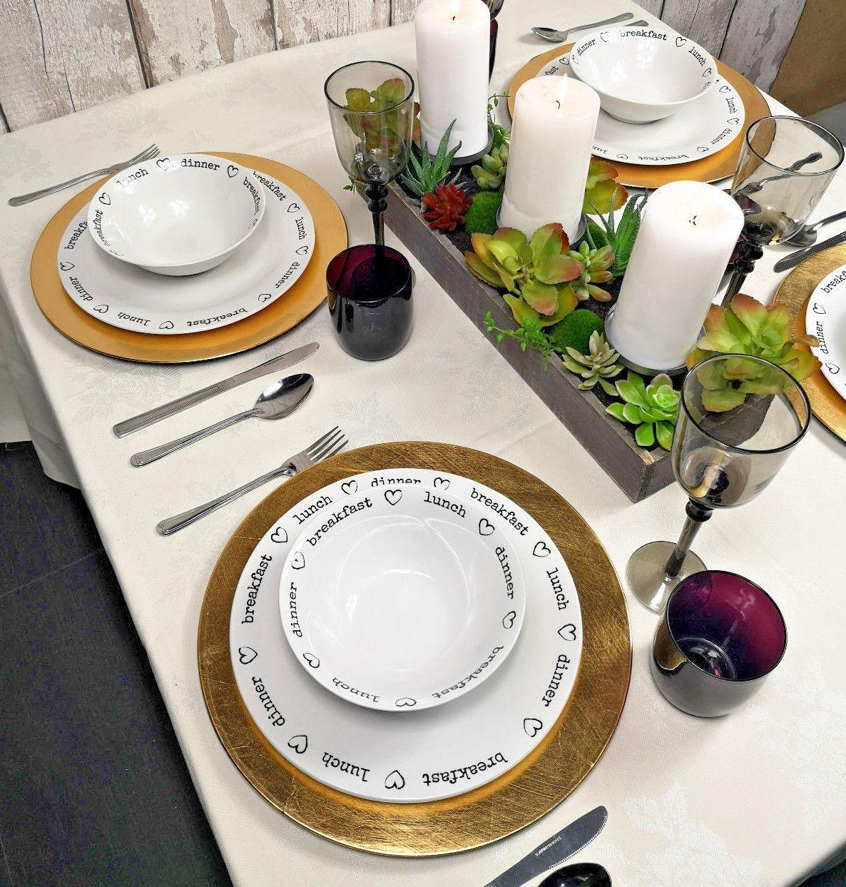 Lot de 24 Round or Chargeur Plaques Centrepiece vaisselle sous couverts