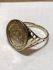 9ct-375-Yellow-Gold-Half-Sovereign-St-George-COIN-RING-BRAND-NEW
