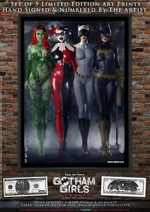 Set-of-5-Prints-Gotham-Girls-CLASSIC-Poison-Ivy-Harley-Quinn-Catwoman-Batgirl
