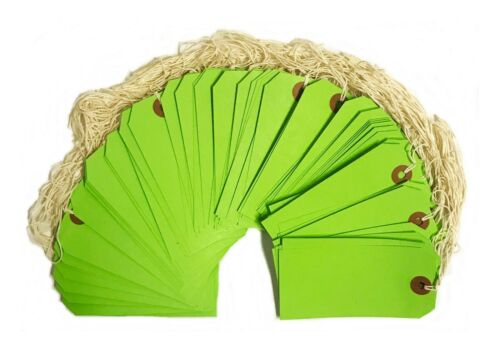 """100 Green Tags 4 3//4/"""" x 2 3//8/"""" Size 5 Inventory Shipping Hang Tag with String"""