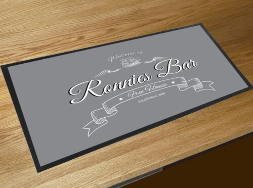 Personalised with your name Welcome Grey bar runner Pubs /& Bars