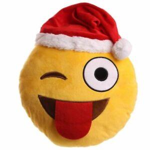 Emoticon Babbo Natale.Cuscino Emoticon Emoji Natalizio Occhilino Babbo Natale 0kqt Ebay