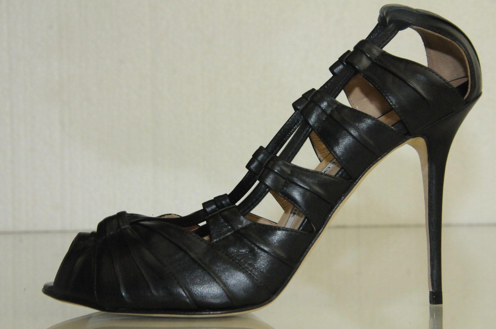 Nuevo Manolo Blahnik Natuk Cuero Negro Punta Abierta Corte Corte Corte Zapatos de Tacón 37  hermoso