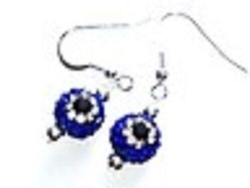 Precioso Oscuro Azul Mal De Ojo Pendientes con Perla Cristal Austriaco discoteca