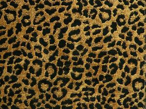 Drapery Upholstery Fabric Chenille Animal Print Leopard Black Spots