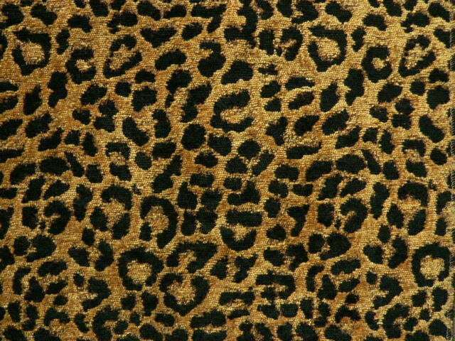 Drapery Upholstery Fabric Chenille Animal Print Leopard Black Spots on Gold