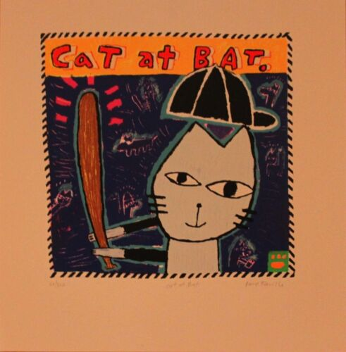 """Serigraph By Dave Faville /""""CAT AT BAT/"""" 10/"""" x 10/"""""""