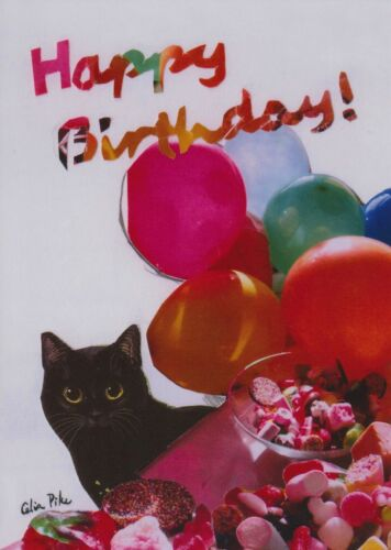 Card From Painting By Celia Pike 027 Black Cat Balloons Happy Birthday