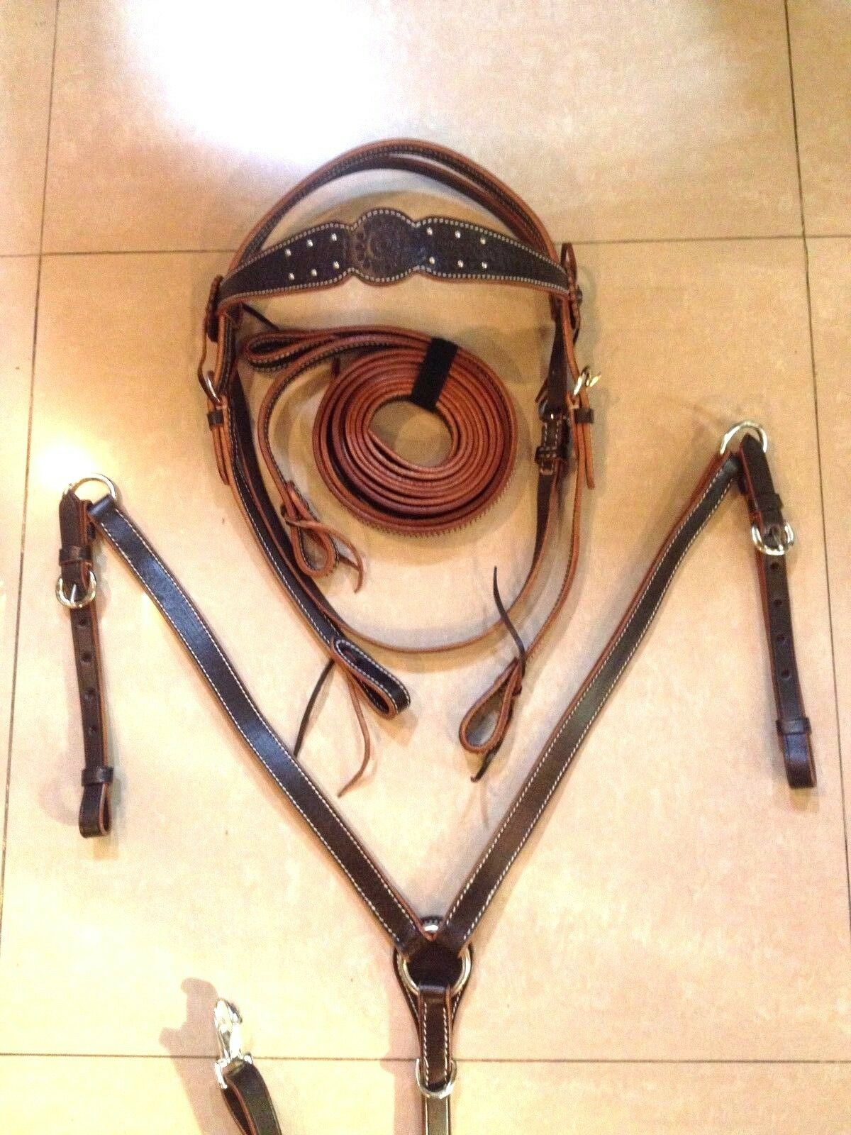 Western Set Of Brown Leather Buffalo Head stall,Rein Breast Collar  Spur  for your style of play at the cheapest prices