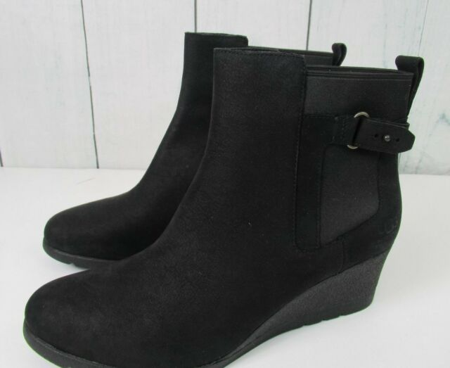 863bea3552d UGG Womens Indra Leather Wedge Buckle BOOTIES Black 12