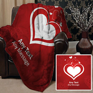 PERSONALISED VALENTINES DAY GIFT HEARTS DESIGN SOFT FLEECE CHAIR THROW BLANKET
