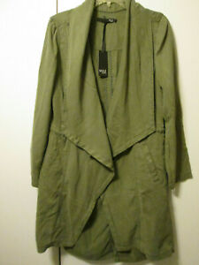 Max Jeans Tencel Vetiver Olive Green Khaki Military Style Long Jacket Hooded L