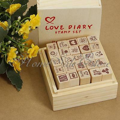 25 Patterns Love Heart Diary Wooden Rubber Stamp Scrapbooking Thanks Card DIY