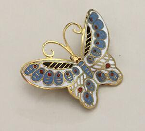 Vintage-cloisonne-butterfly-Cloisonne-brooch-pin-enamel-on-metal