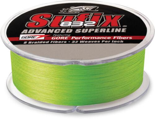 NEW Sufix 832 Advanced Superline Braid 15 lb 600Yds Neon Lime 660-215L