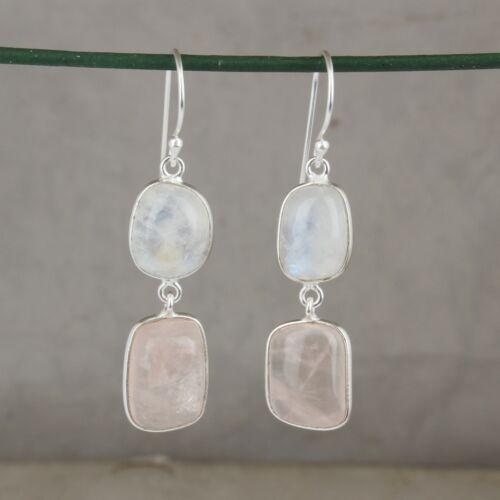Details about  /Natural Moonstone Rose Quartz Gemstone 925 Sterling Silver Dangle Earrings