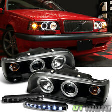 DRL Led Bumper Fog Lamps + 93-97 Volvo 850 Angel Eye Projector Blk Head Lights