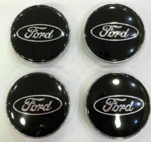 Ford-4-x-60mm-Schwarz-Chrome-Alufelge-Nabenkappen-Nabendeckel-Satz