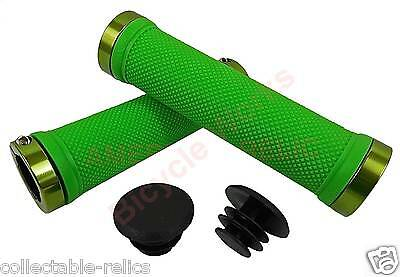 Lime Green Lock On BMX MTB Grips Bike Bicycle Mountain Scooter Cycle LockOn