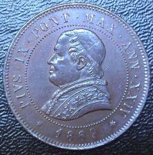 1869 R ITALY - 4 SOLDI- COPPER - Pius IX Pont - Nice Coin - HUGE - LUSTRE
