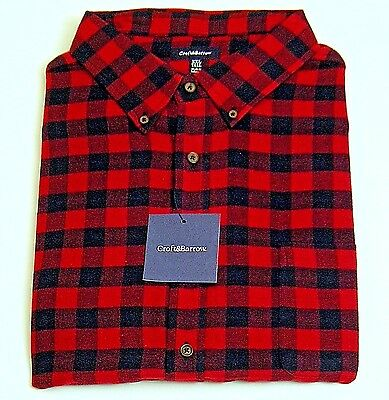 Mens Flannel Shirt Size 3XLT Navy Blue/Red Check Classic Fit Croft & Barrow NWT