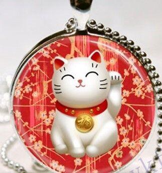 Glass Cabochon Beckoning JAPANESE LUCKY CAT MANEKI NEKO  Pendant Necklace