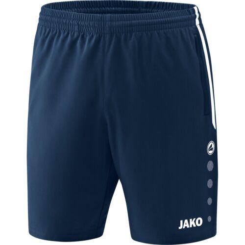 JAKO Shorts Pants Brief Mens Navy Sports Trousers Zip Pockets 6218