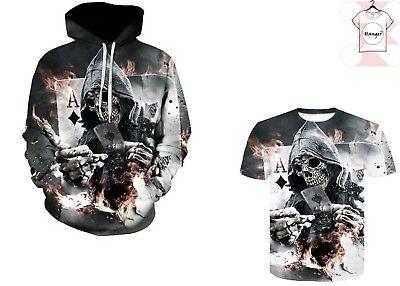 Skull Play Poker 3D T-shirt Hoodies Pullover Full Print Cool Print Size S 7XL