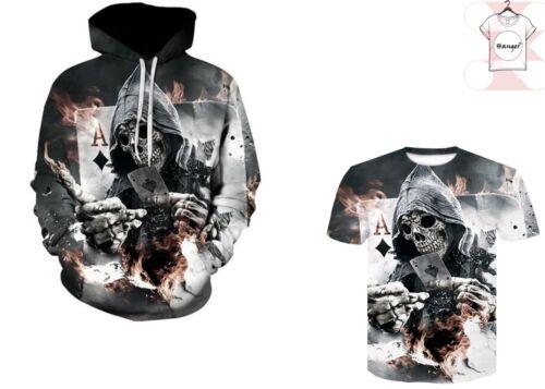 7XL Skull Play Poker 3D T-shirt Hoodies Pullover Full Print Cool Print Size S
