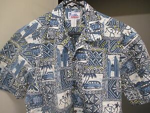 HAWAIIAN-SHIRT-BY-HAWAII-M-BLUE-amp-WHITE-w-GOLD-CLASSIC-WOODIES-SURFBOARDS-TIKI