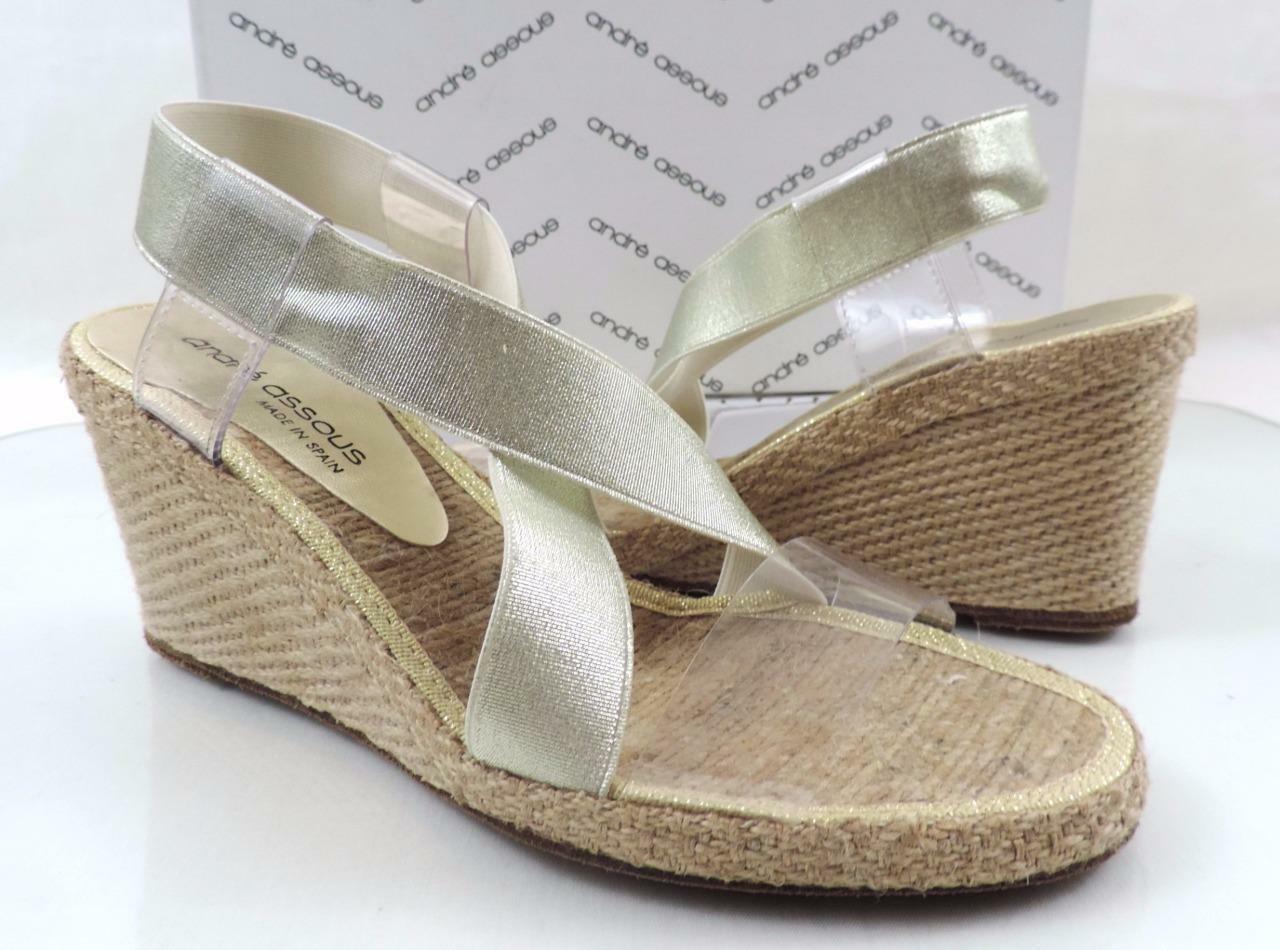 Womens shoes Andre Assous Desi Espadrille Wedge Sandals Platinium gold Size 7.5