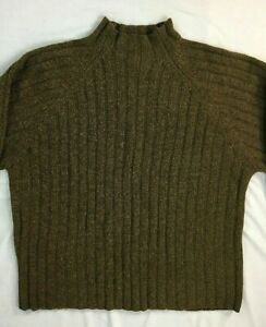Vintage-J-Crew-Women-039-s-100-Lambs-Wool-Cable-Knit-Crew-Neck-Sweater-Brown-XL